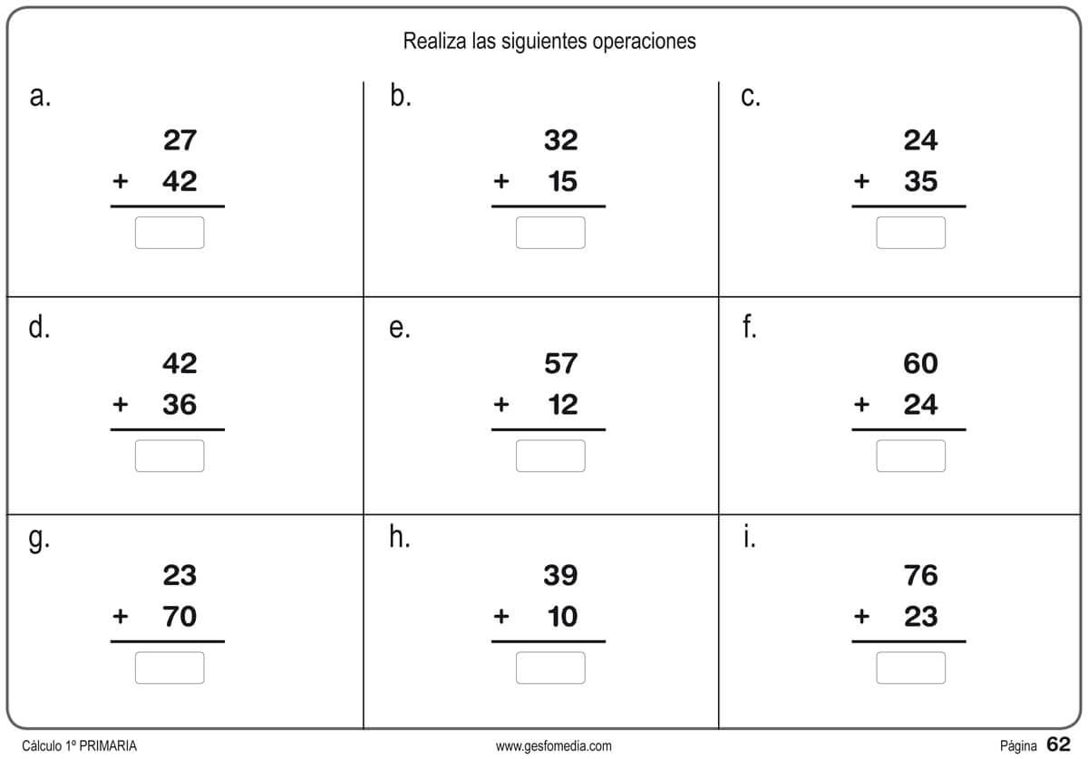 Fichas de ejercicios de Matemáticas: Primero de Primaria