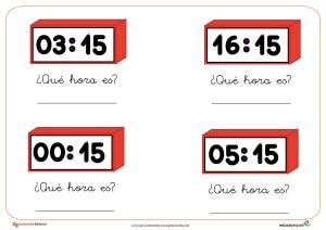 Relojes, la hora, recursos para el aula, fichas infantil