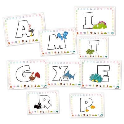 abecedario para colorear, letras para colorear, aprender letras