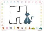 Fichas de Abecedario para colorear: letra H