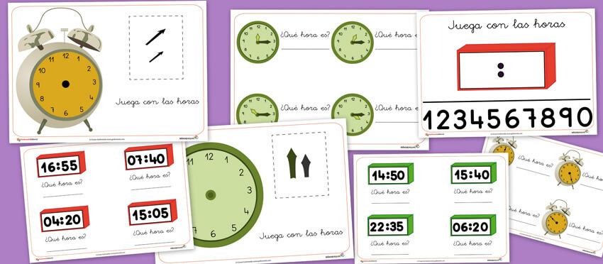 las horas, relojes, recursos para el aula, recursos didacticos, aprender las horas