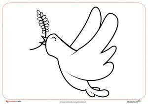 2. Ficha del día de la paz- Paloma de la paz para dibujar y colorear por los niños