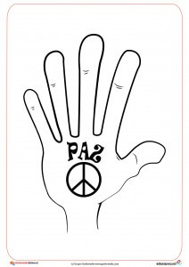 6. Ficha del día de la paz- mano de la paz para dibujar y colorear por los niños