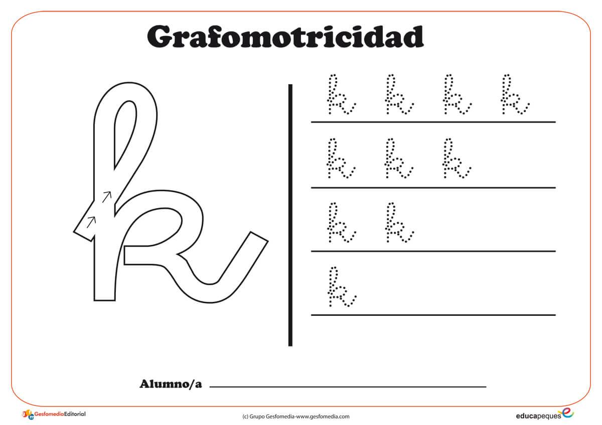 """Ficha de grafomotricidad con la letra """" K"""""""