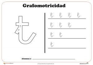 """Ficha de grafomotricidad con la letra """"T"""""""