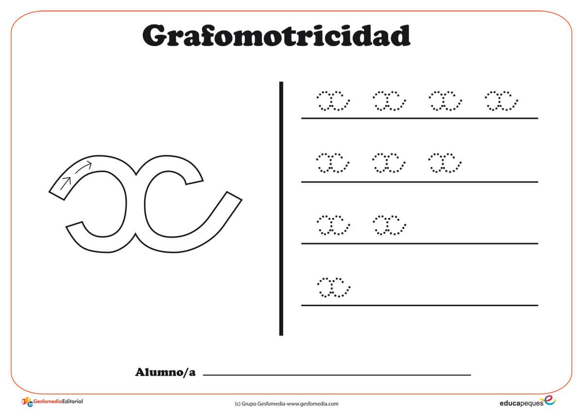 """Ficha de grafomotricidad con la letra """"X"""""""