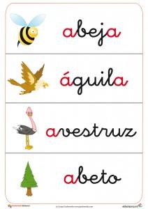 Fichas con vocabulario con abeja, águila, avestruz, etc y fichas de letra con la letra a. recursos para el aula de educapeques.