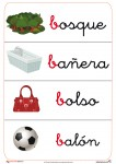 fichas de letras para trabajar con los niños, con la letra b