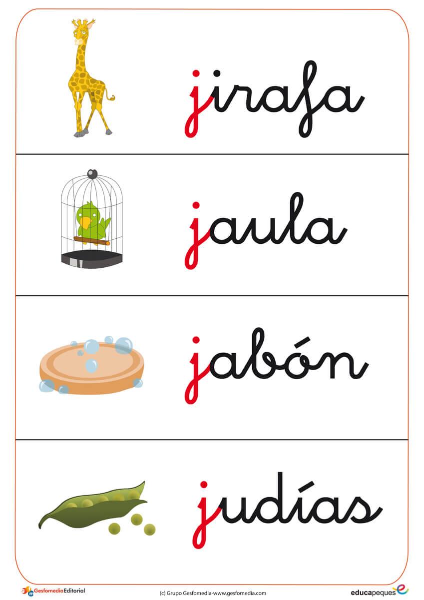 trabaja el vocabulario con estas fichas que comienzan por la letra j, con palabras como jaula, jabón, etc.
