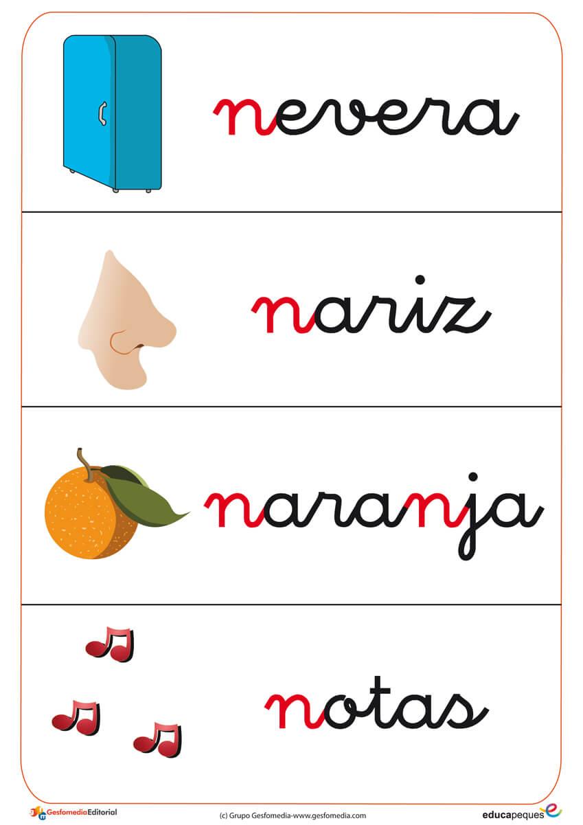 Fichas de letras con la letra del abecedario N.