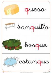 Fichas de letras y vocabularioletra abecedario Q: bosque, banquillo, etc.