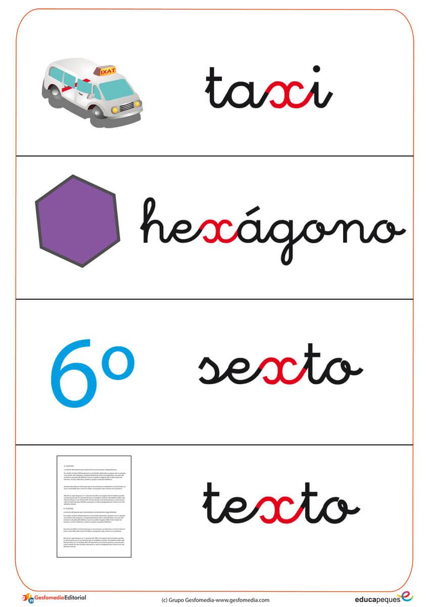 Ficha de vocabulario con palabras que contiene letra X.