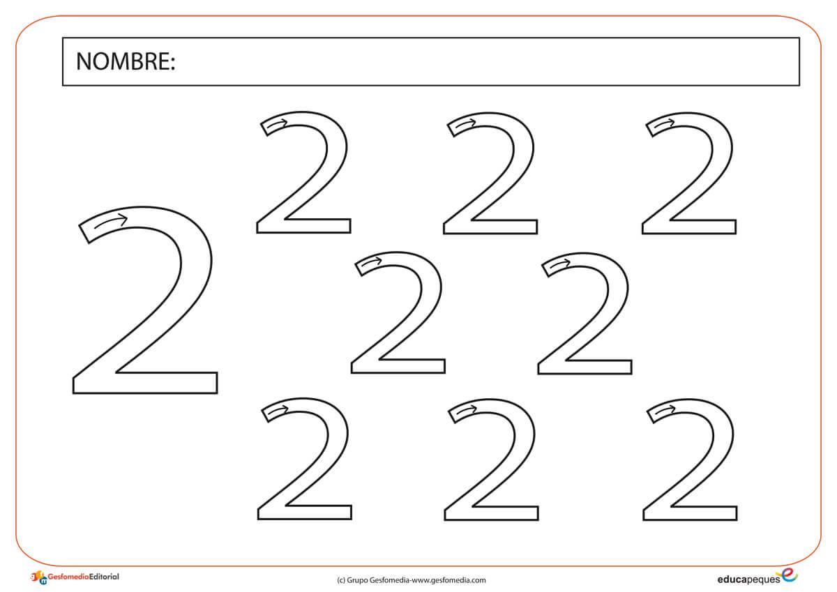 Fichas de Grafomotricidad con el número dos. | Educapeques