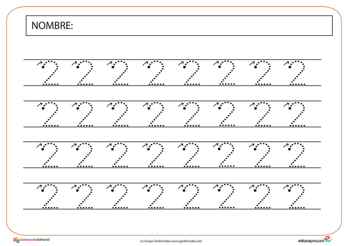 Numero 10 Con Imagenes: Fichas De Grafomotricidad Con El Número Dos.