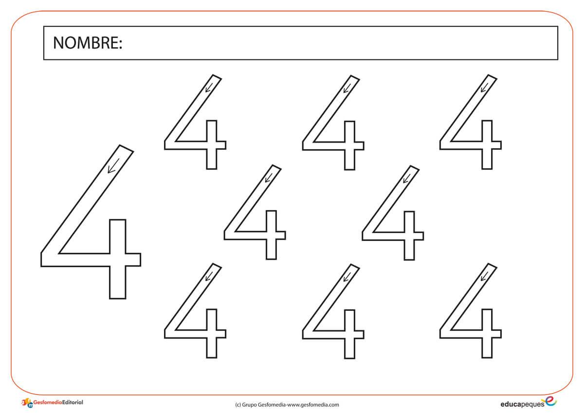 Trabajamos la grafomotricidad con el número cuatro