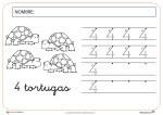 grafomotricidad, lectoescritura, numero cuatro, fichas infantil, recursos para el aula