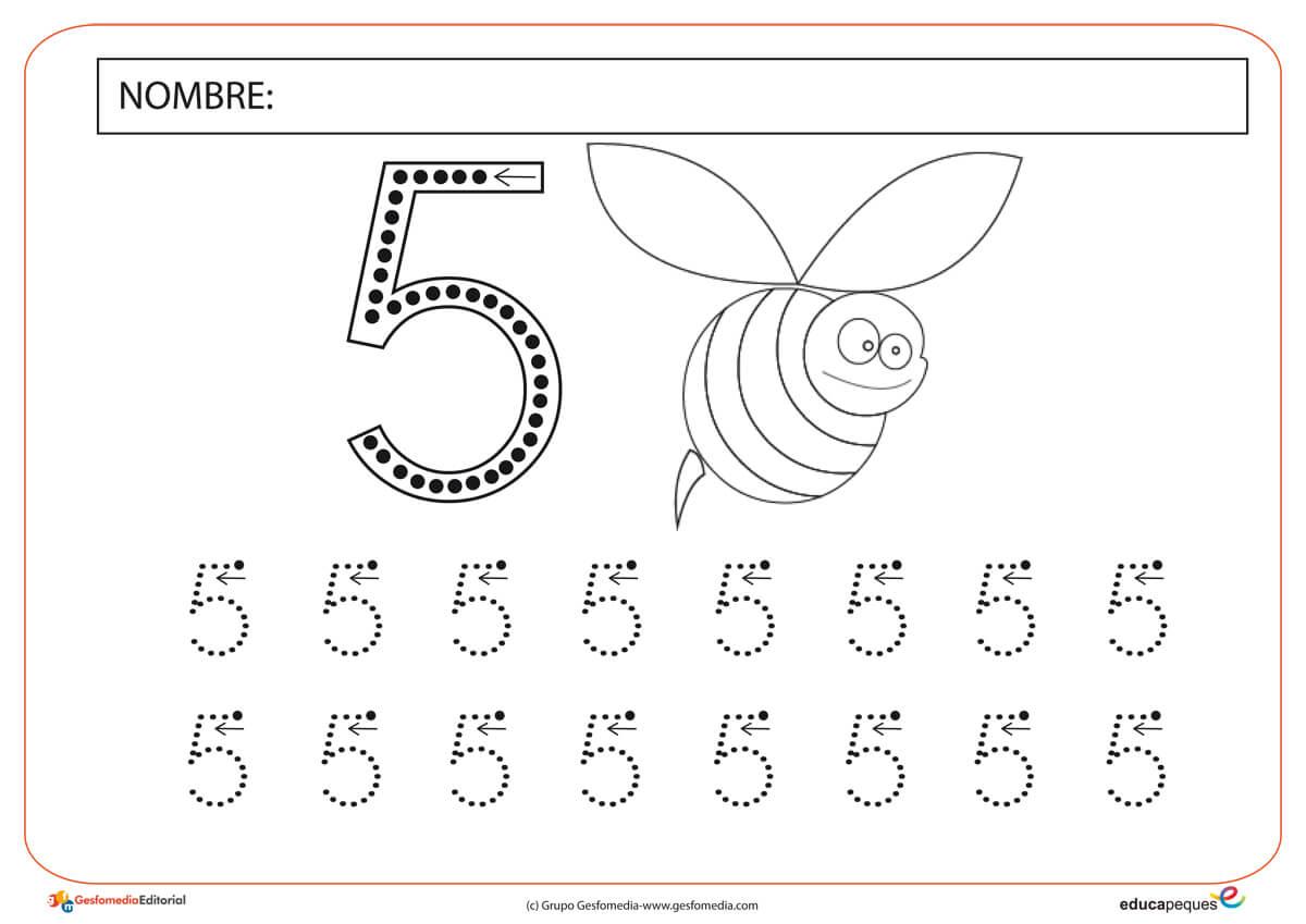 Fichas Numéricas Número Cinco
