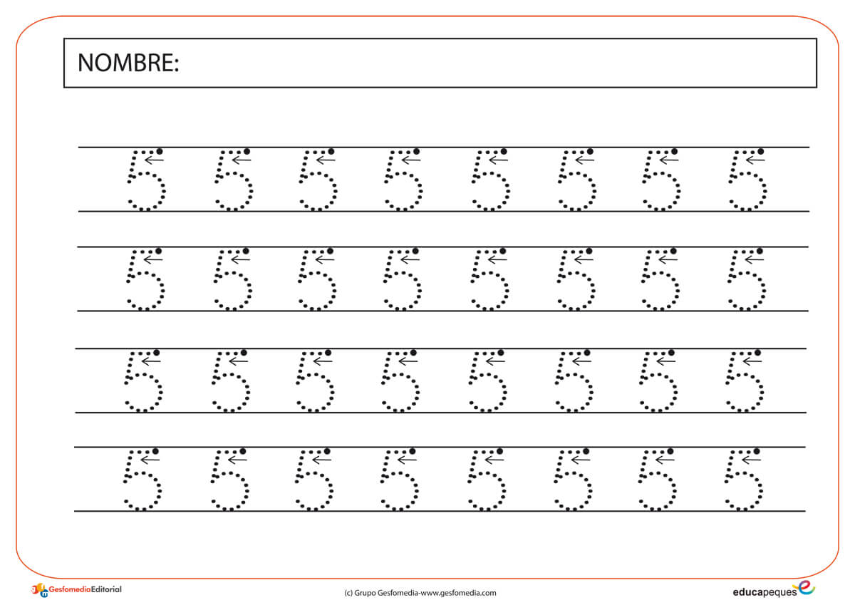 Fichas Numéricas: Número Cinco