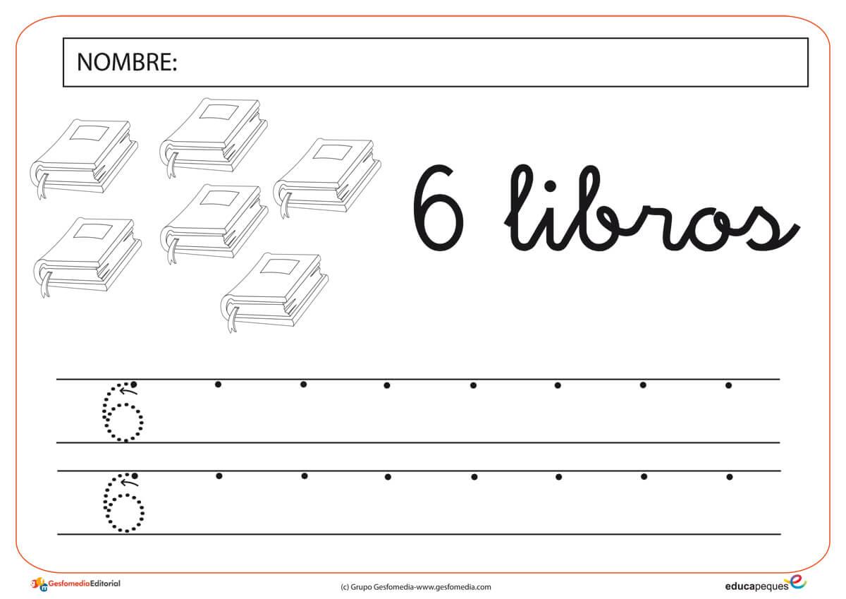 número seis, grafomotricidad, lectoescritura, contar, números, recursos para el aula