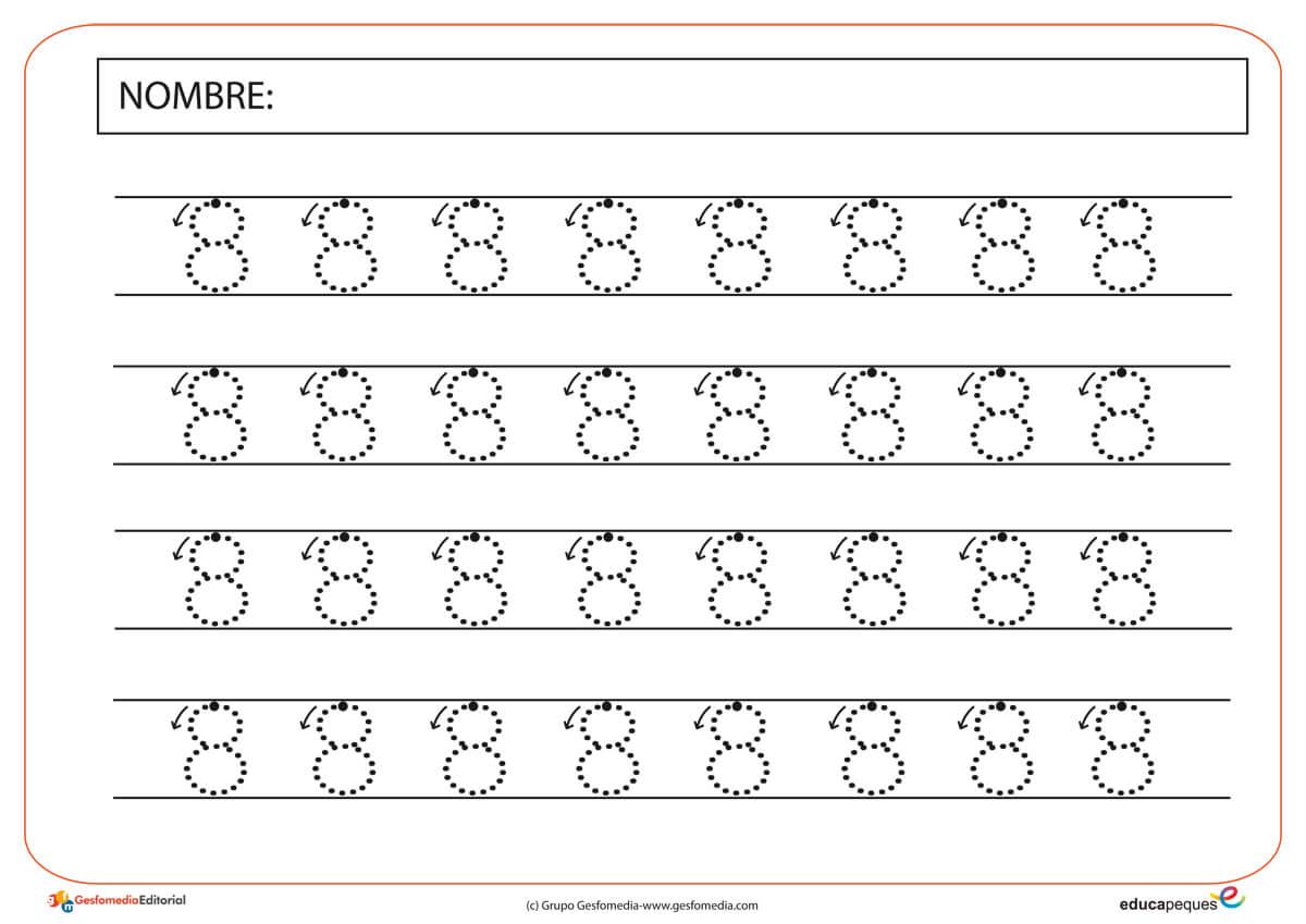 Fichas para trabajar con números. El número ocho