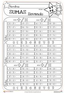 fichas de matemáticas para repasar las sumas