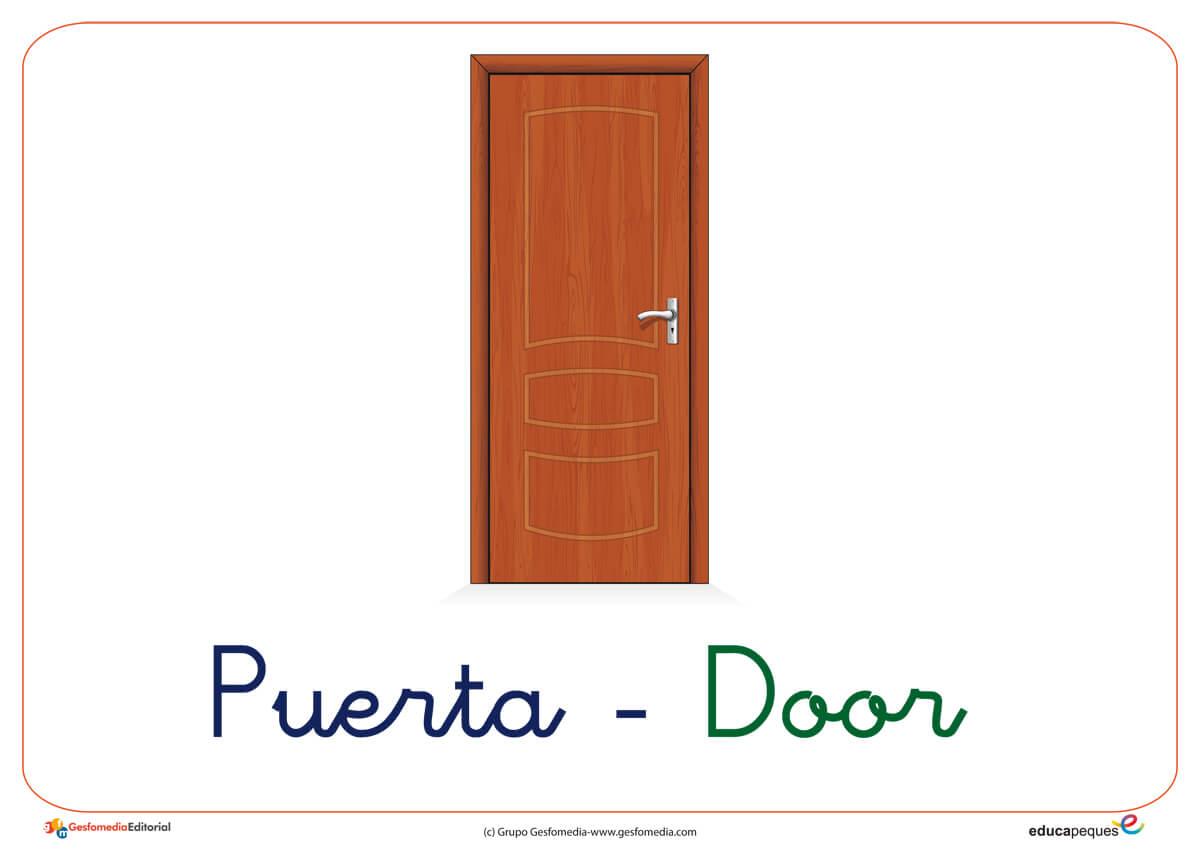 Fichas de vocabulario b sico el sal n for Puerta en ingles