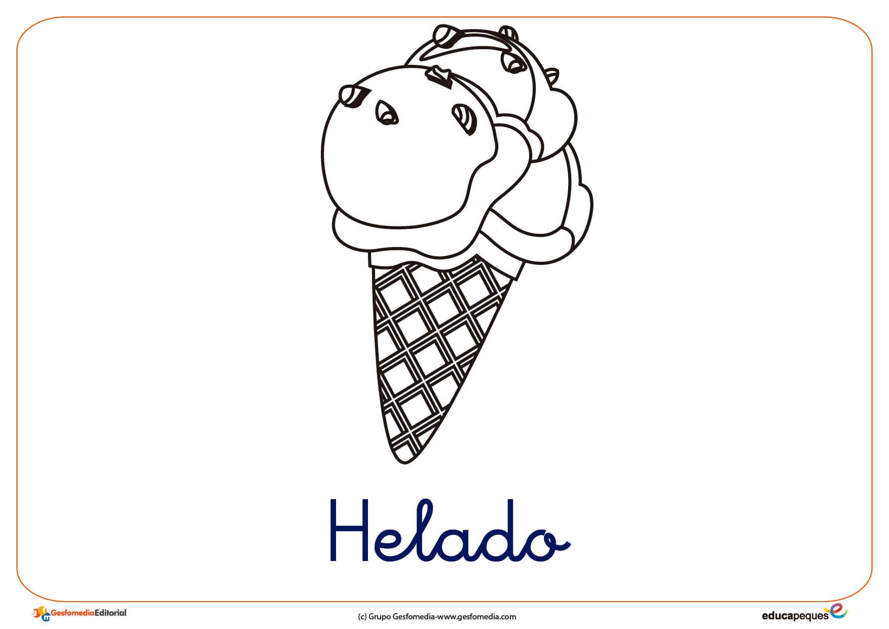 helado 2 ficha verano colorear