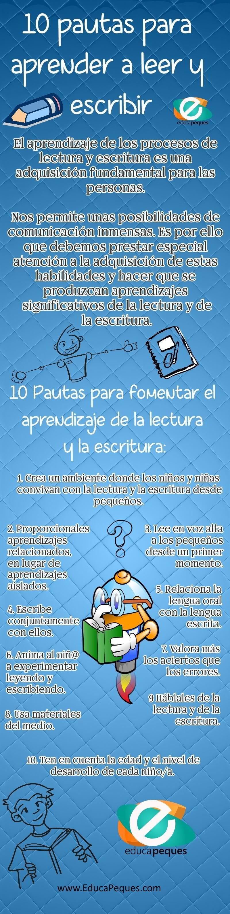 10 pautas para fomentar el aprendizaje de la lectura y la escritura