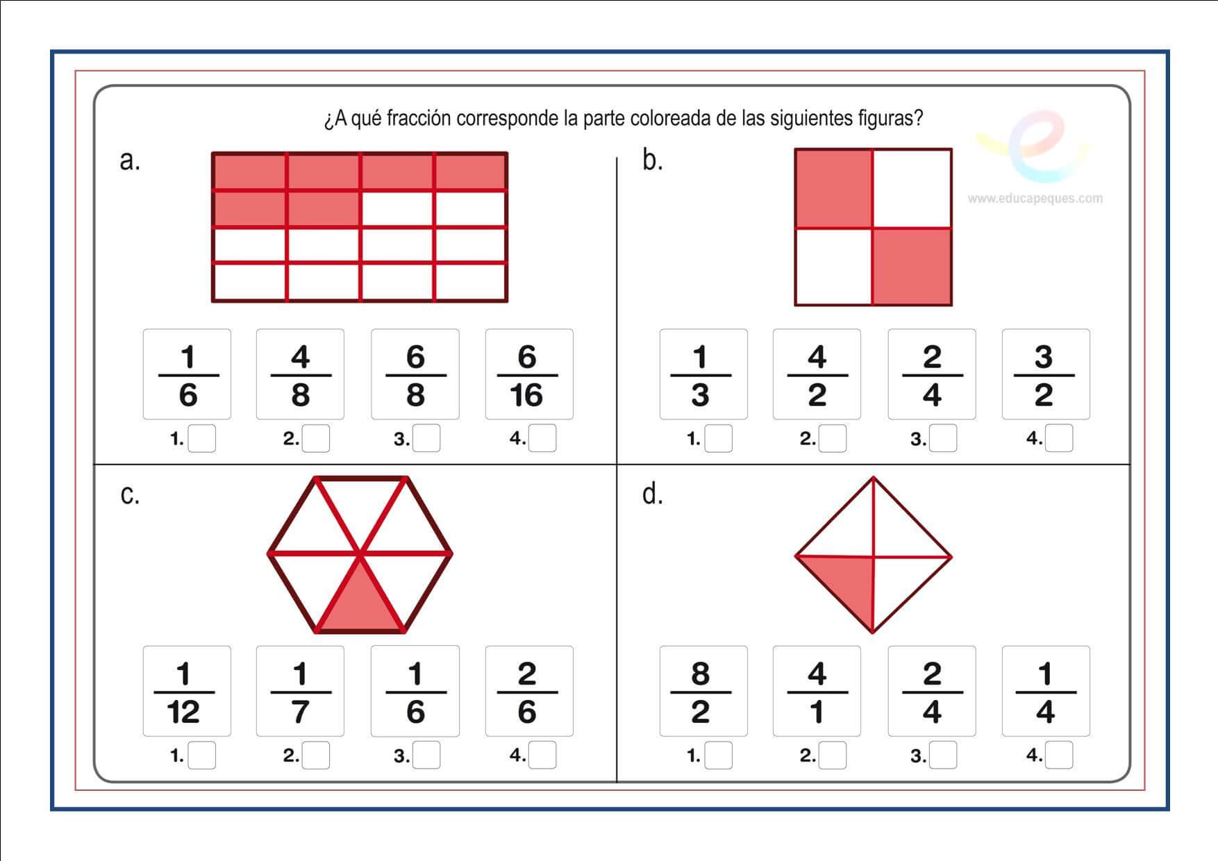 Fracciones. Suma resta multiplicacion y division de fracciones