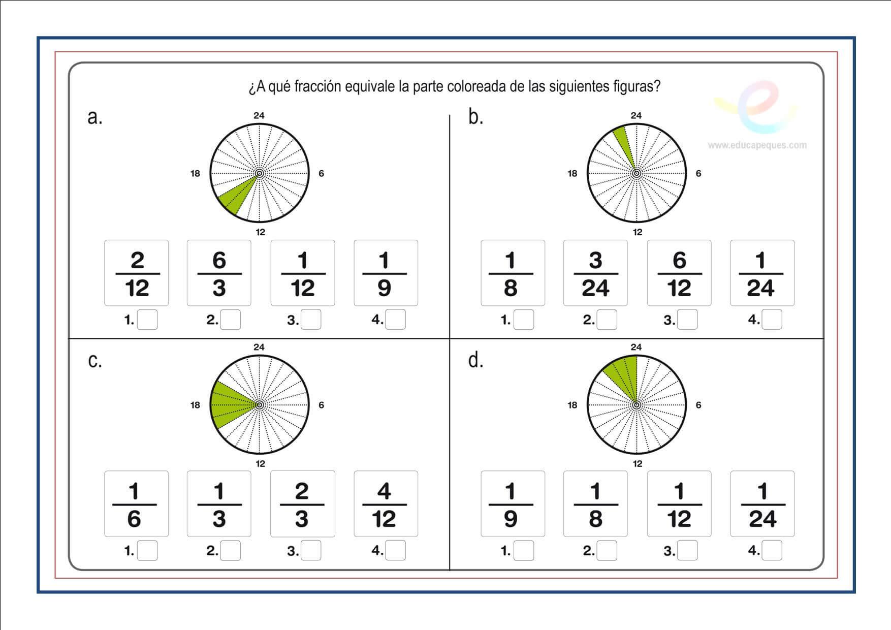 Fracciones Cuarto Primaria   Fracciones Suma Resta Multiplicacion Y Division De Fracciones