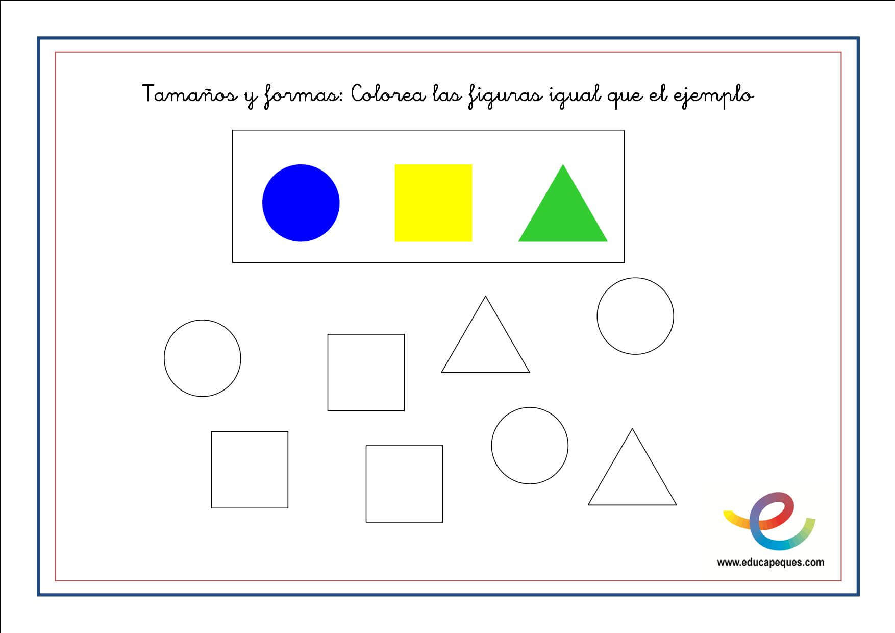 Fichas de matemáticas para primaria: Tamaños y formas