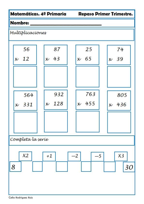 Ejercicios y actividades: Matemáticas para Cuarto Grado de ...
