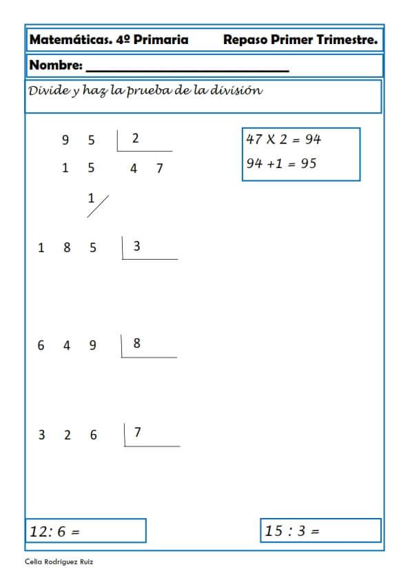 Ejercicios Cuarto Primaria | Matematicas Fichas Para Cuarto De Primaria