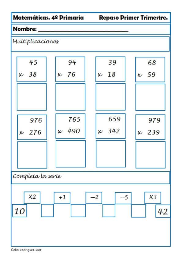 Ejercicios Y Actividades Matematicas Para Cuarto Grado De Primaria
