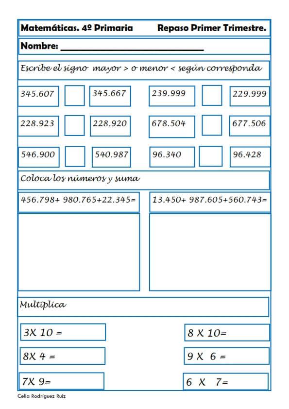 Ejercicios y actividades: Matemáticas para Cuarto Grado de Primaria