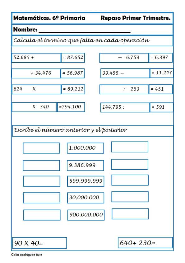 Ejercicios de Matemáticas para Sexto de Primaria