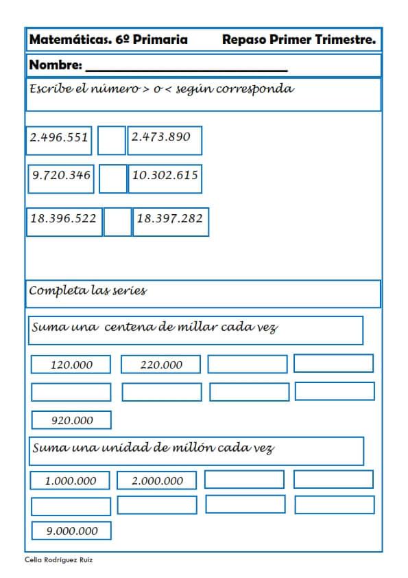 Ejercicios De Matemáticas Para Sexto De Primaria Niños 11 12 Años