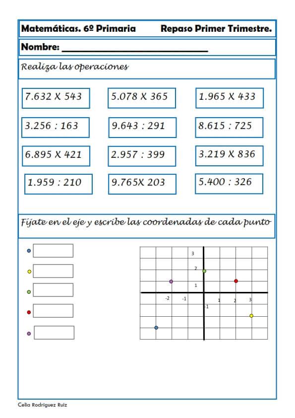 Ejercicios de Matemáticas para Sexto de Primaria ▷ Niños 11-12 años