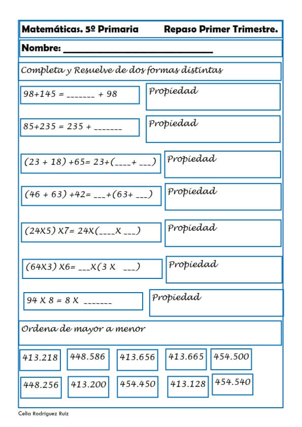 Ejercicios de matemáticas para Quinto de Primaria