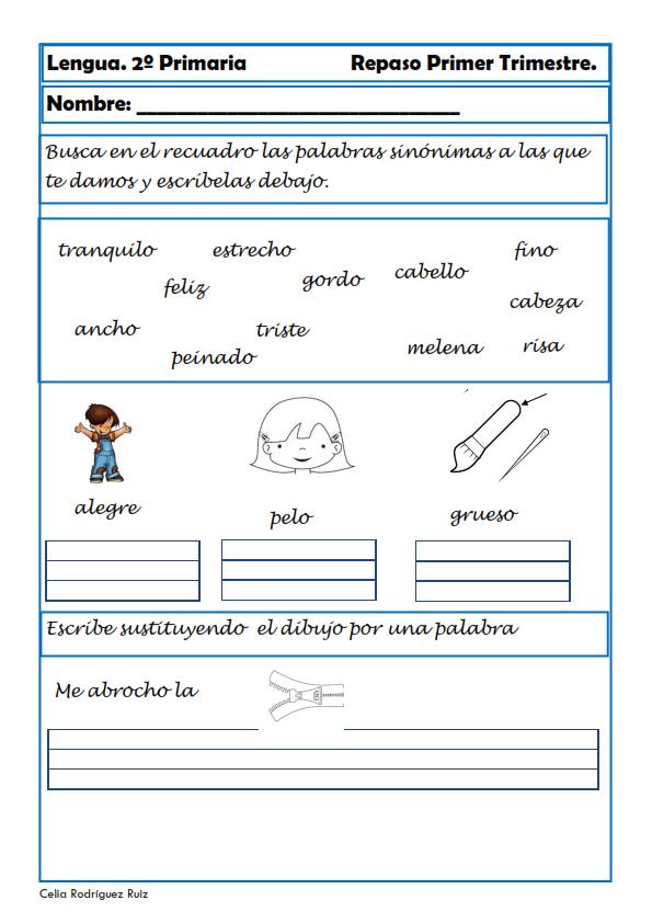 Ejercicios de lengua para segundo de primaria for Curso de cocina basica pdf