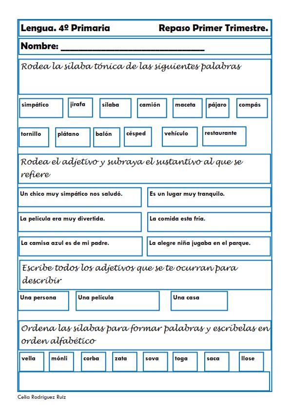 fichas de lengua para cuarto de primaria On lengua cuarto de primaria
