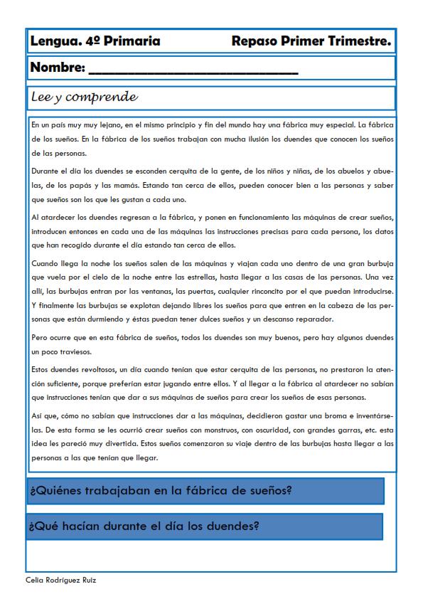 Fichas, ejercicios y actividades de lengua para Cuarto Grado ...