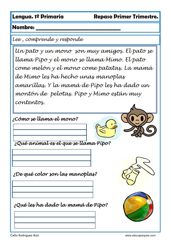 Fichas de lengua para Primero de Primaria (6-7 años)