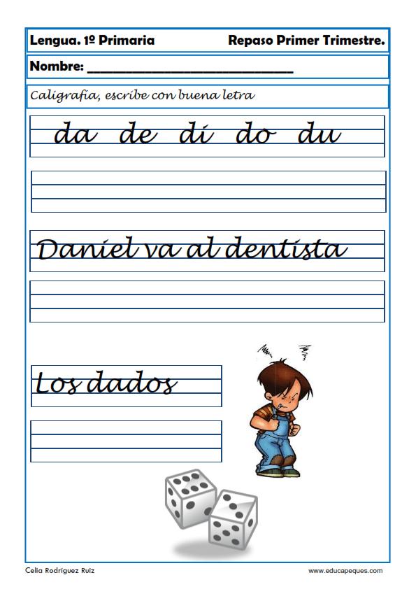 Fichas de lengua para Primero de Primaria (Lectoescritura