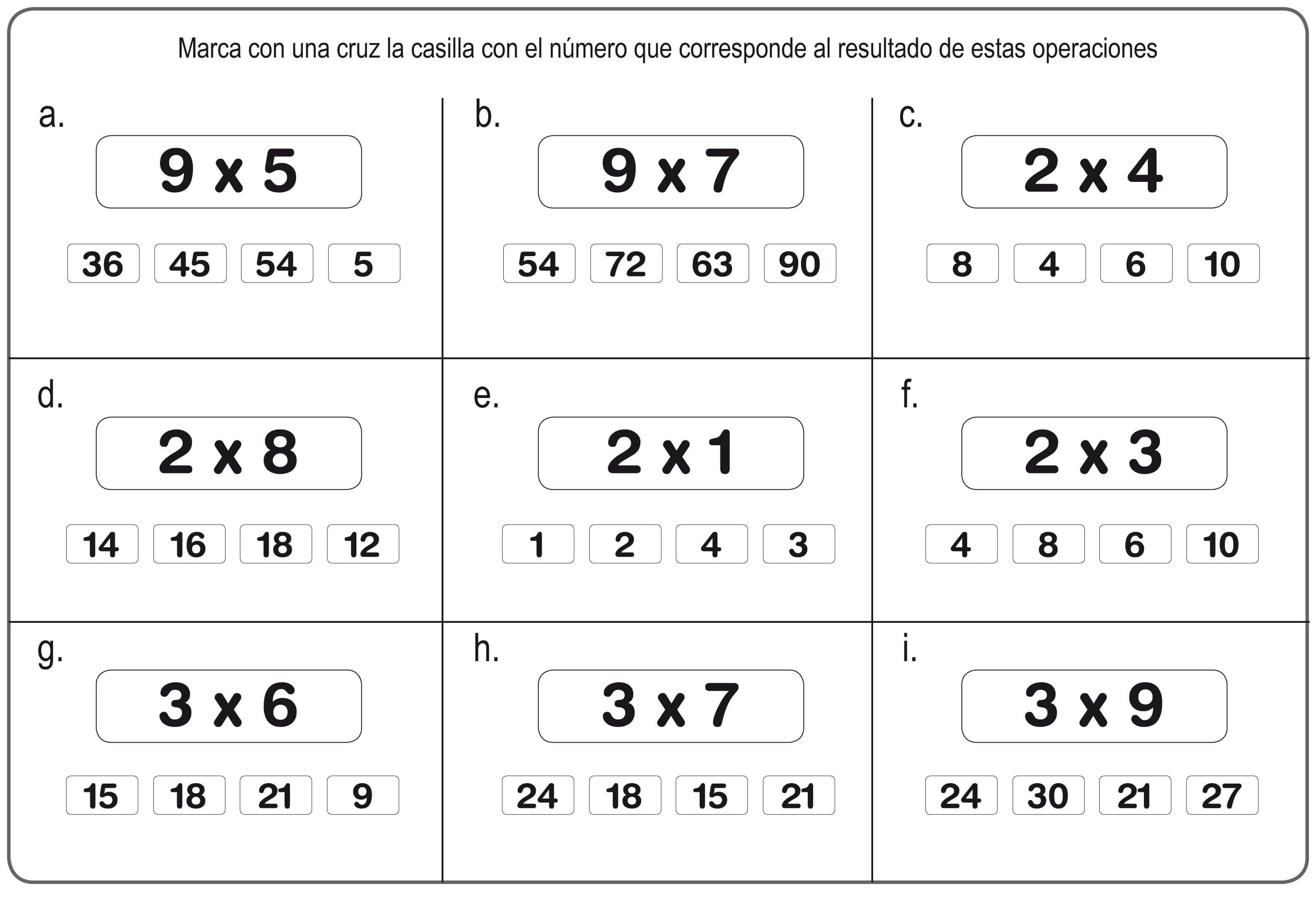 Repasar la multiplicacin Fichas y Tablas de Multiplicar