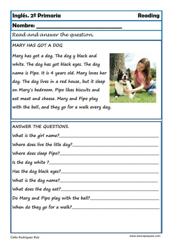 Fichas de inglés Segundo Primaria: Reading-Writting