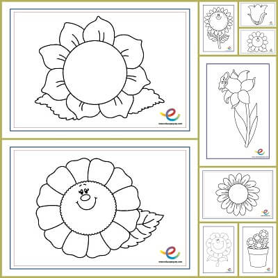 Flores para colorear - Recursos educativos