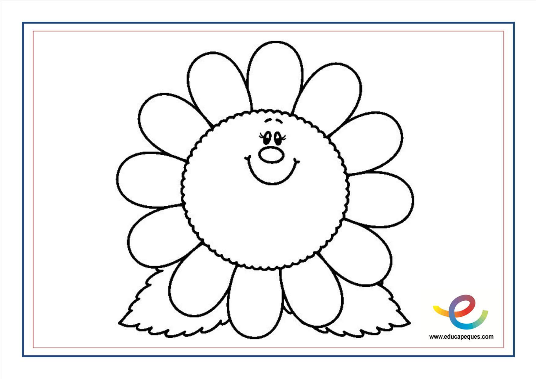Flores Para Colorear. Simple Flor Primaveral Dibujalia Dibujos Para ...