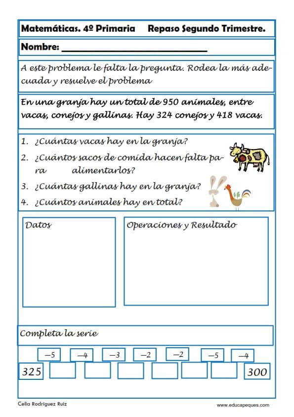 ejercicios matemáticas cuarto primaria 04