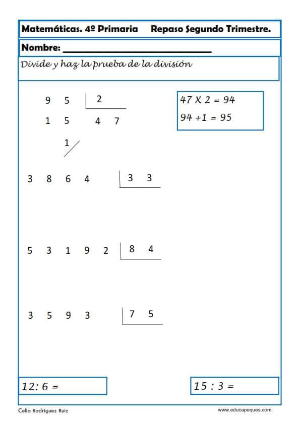 Ejercicios Cuarto Primaria | Ejercicios Matematicas Cuarto Primaria 05